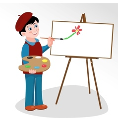 Artist paints picture on easel vector image