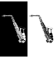 black and white saxophone vector image