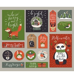 Christmas cards and tags set hand drawn style vector image vector image