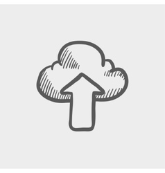 Cloud with arrow up sketch icon vector image vector image