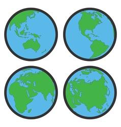 earth globe flat symbols vector image vector image