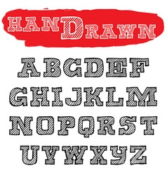 Handwriting striped Fonts Hand Drawn Alphabets vector image vector image