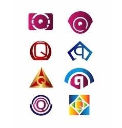 Set of letter Q logo Branding Identity Corporate vector image vector image
