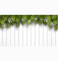 Christmas wooden background with fir branches vector image vector image