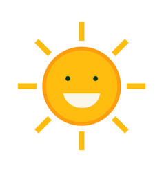 flat cute sun character design with isolated vector image vector image
