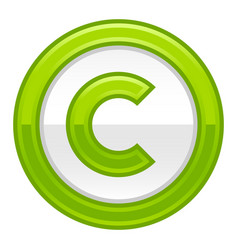 green copyright symbol sign glossy icon vector image