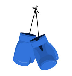 hanging blue boxing gloves accessory for boxer vector image