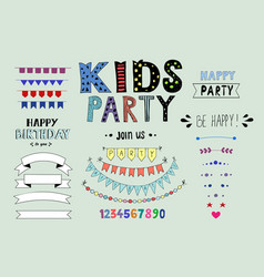 kids party doodles with design elements vector image