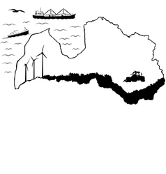 Latvia with ships 2 flat vector image