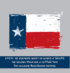 texan flag flat - artistic brush strokes and vector image vector image