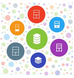 7 cupboard icons vector
