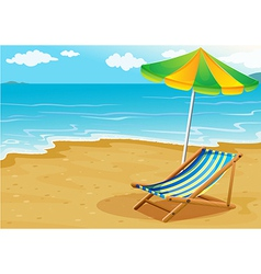 A seashore with a bench and an umbrella vector image