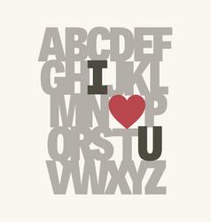 alphabet i love you valentine message vector image