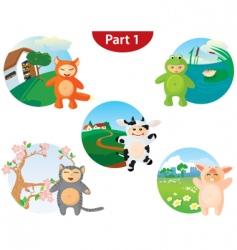 animal costume set vector image