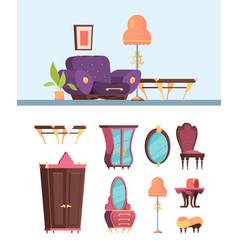 antique furniture set retro interior living room vector image