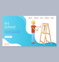 Art school web page boy drawing woman on canvas vector