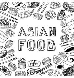 Asian food background vector