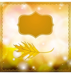 Autumn card with falling leaf and bokeh lights vector image