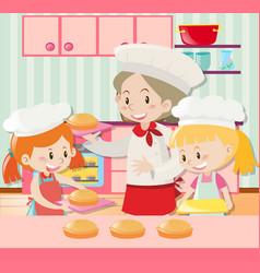 Baker and two girls baking pie vector
