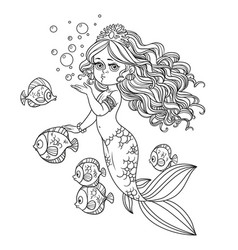 beautiful mermaid girl sends an kiss outlined vector image