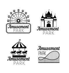 Black amusement park emblems vector