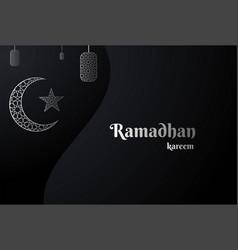 black ramadan kareem card with 3d silver crescent vector image