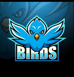 Blue bird mascot esport logo design vector