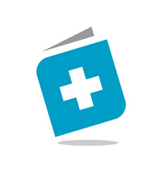 book and plus logo blue medical book health book vector image