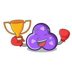 Boxing winner trefoil mascot cartoon style vector
