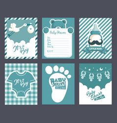 boy blue baby shower invitation greeting cards vector image vector image