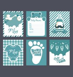 Boy blue bashower invitation greeting cards vector
