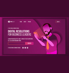 business solution landing page concept vector image