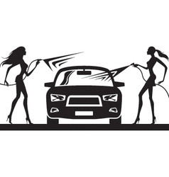 Car wash with fashion models vector image