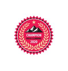 champion rock climbing - concept badge design vector image