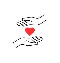 charity logo with thin line hand and heart vector image