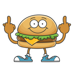 Cheese hamburger giving middle fingers vector