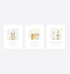 chemistry concept - line design style banners set vector image