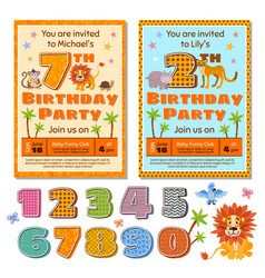 Children birthday party invitation card vector