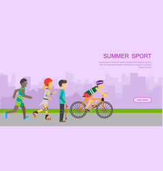 Children going in for sport web banner poster vector