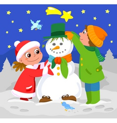 Children playing with snowman vector