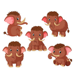 collection of the mammoth with different pose vector image
