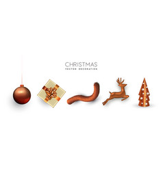 copper christmas set 3d holiday object isolated vector image
