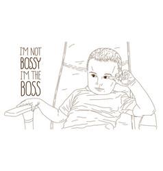 Cute little boy kid sitting in office chair self vector