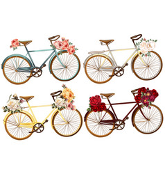 cute set for invitation with bicycles and flowers vector image