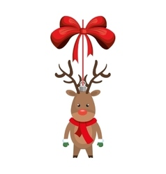 deer decoration with red bow ribbon vector image