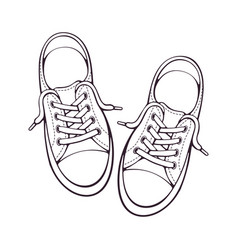 doodle pair textile sneaker with rubber toe vector image