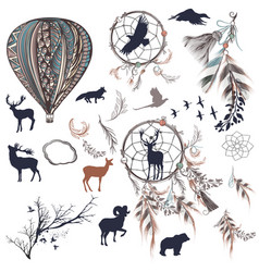 dreamcatchers with feathers trees and animals vector image