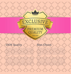 exclusive premium quality best choice brand label vector image