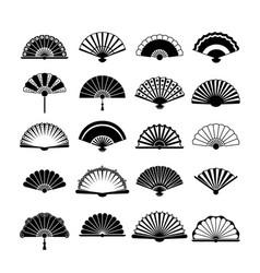 fans silhouette set collection vintage oriental vector image