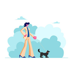 female character walk with dog in public city park vector image